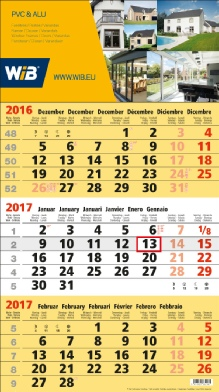 Calendrier  3 Mois Business jaune - 3M.5 BS